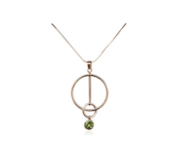 Peridot Necklace Rose Gold Vermeil